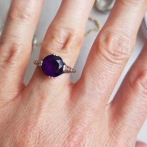 Antique vintage real amethyst ring sterling 5.25